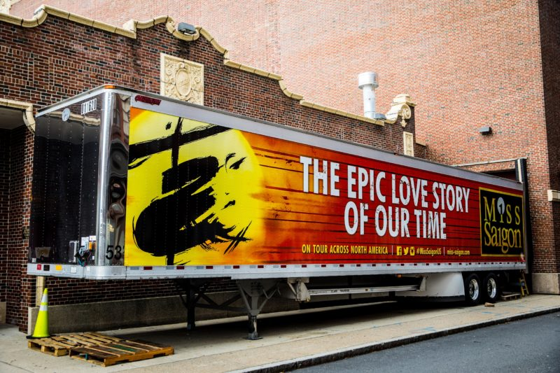 MISS SAIGON North American Tour wrapped truck, parked outside a theatre. Coming to a city near you!