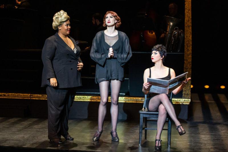 "Scene from CHICAGO between Matron ""Mama"" Morton, Roxie Hart, and Velma Kelly"